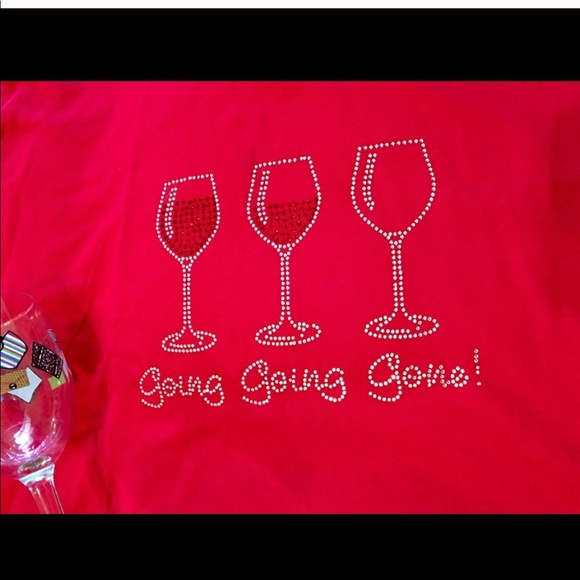 Denim, Boots, & Bling Tops - Blingy Wine Enthusiast Tee - Custom Made